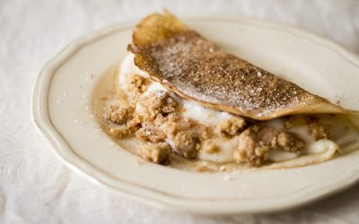 Milk Tart Pancakes with Cinnamon Crumble