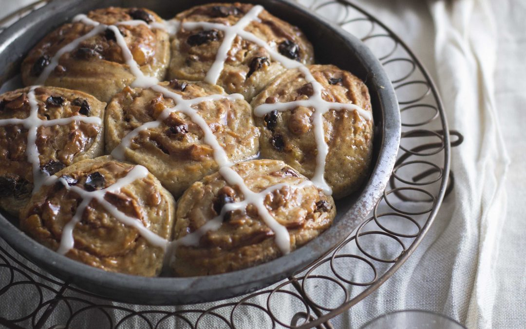 Caramel Choc Chip Hot Cross Chelsea Buns