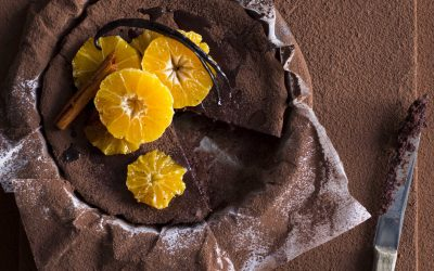 Baked Chocolate Mousse Cake with Spiced Clementines