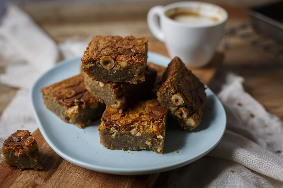 White Chocolate Hazelnut Blondies - The Kate Tin