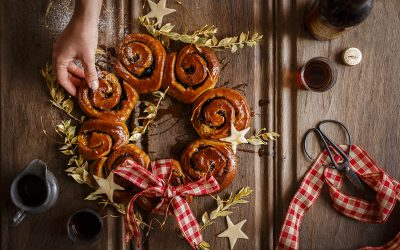 Christmas Bun Wreath with Sherry Caramel