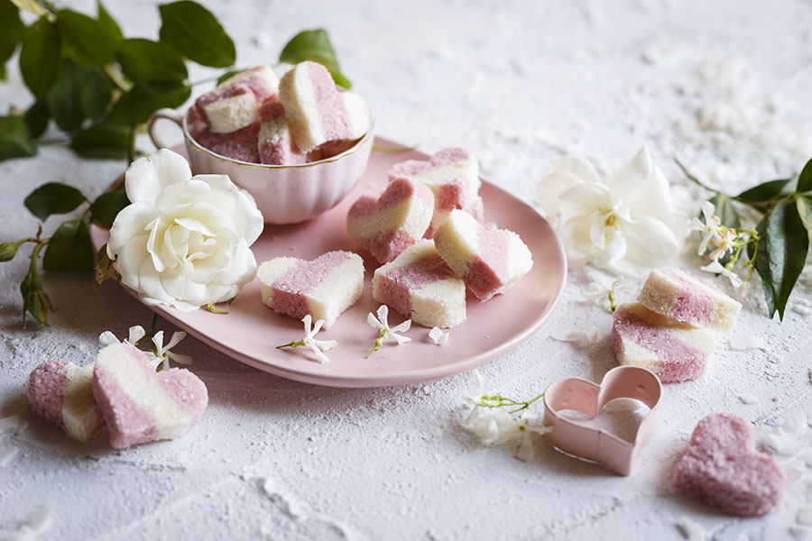 Raspberry Coconut Ice Hearts (No-Cook)