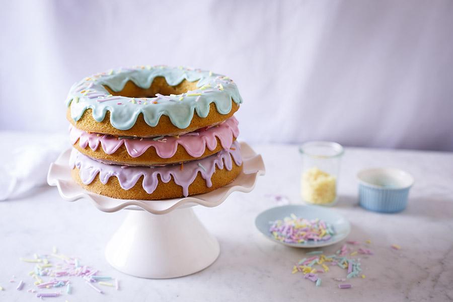 Giant Doughnut Cake With Homemade Sprinkles