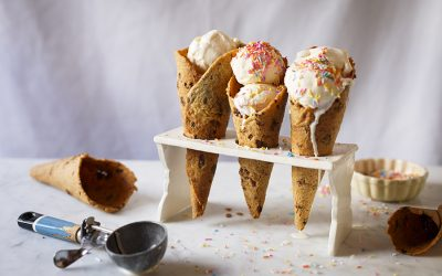 Chocolate Chip Cookie Ice Cream Cones