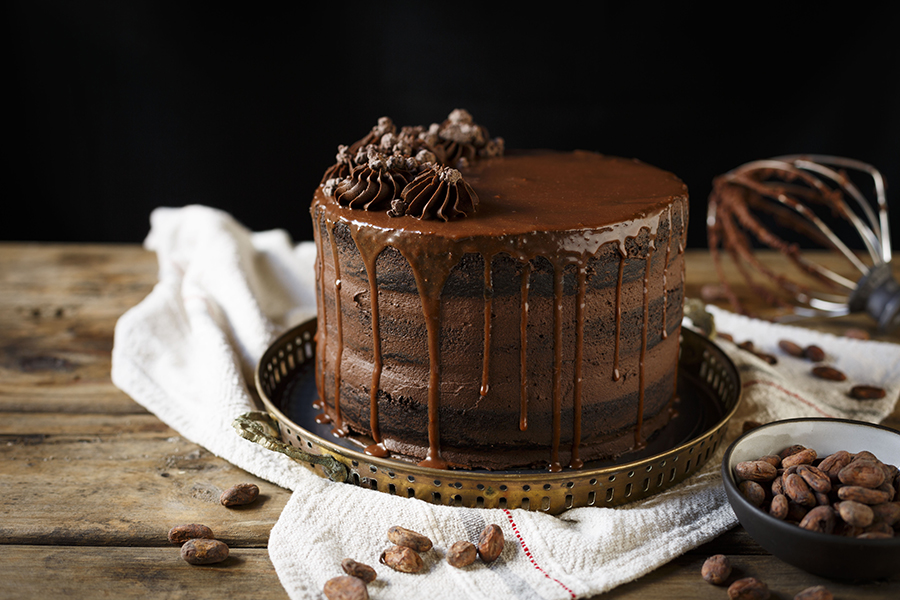 Dark Chocolate Cocoa Crunch Cake