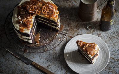 Chocolate Stout Cake With Pretzel Brittle