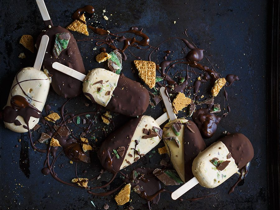 Caramel Peppermint Crisp Ice Cream Lollies