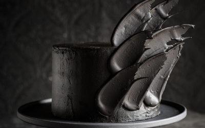 Black Brushstroke Cake for Halloween
