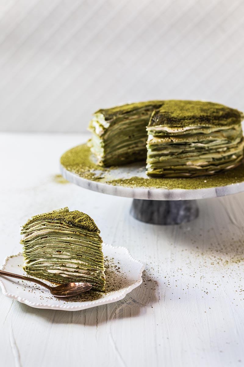 Matcha Pancakes with vanilla custard cream