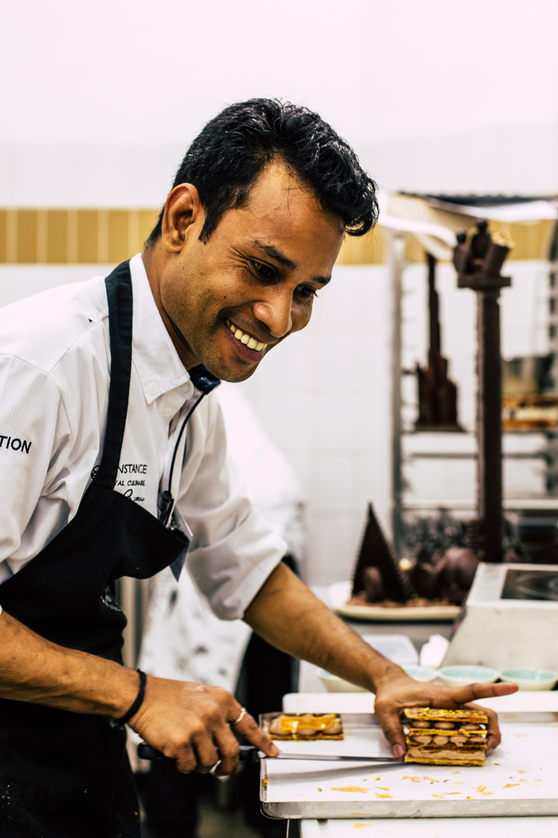 Iqubal Shaikh of Constance Halaveli Hotel preparing mille feuille
