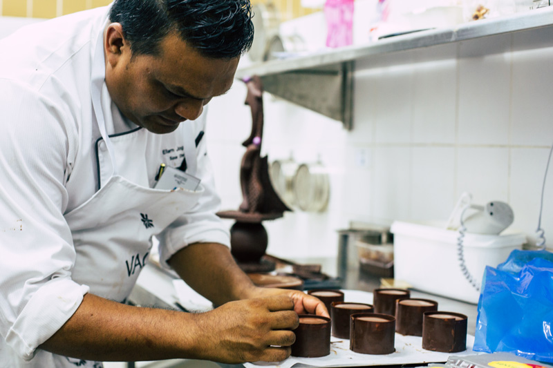 Ellam Johgee prepares his chocolate dessert