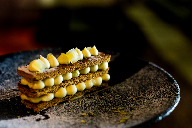 Mille Feuille of white chocolate vanilla and bananas