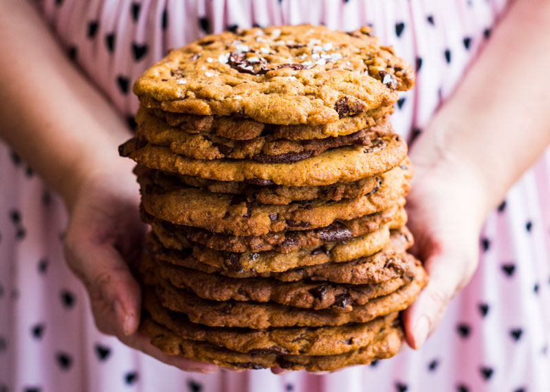 Giant Salted Tahini Chocolate Chip Cookies