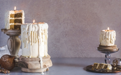Dripping White Chocolate Candle Cakes