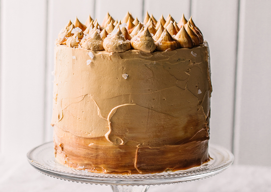 Salted Caramel cake on a cake stand