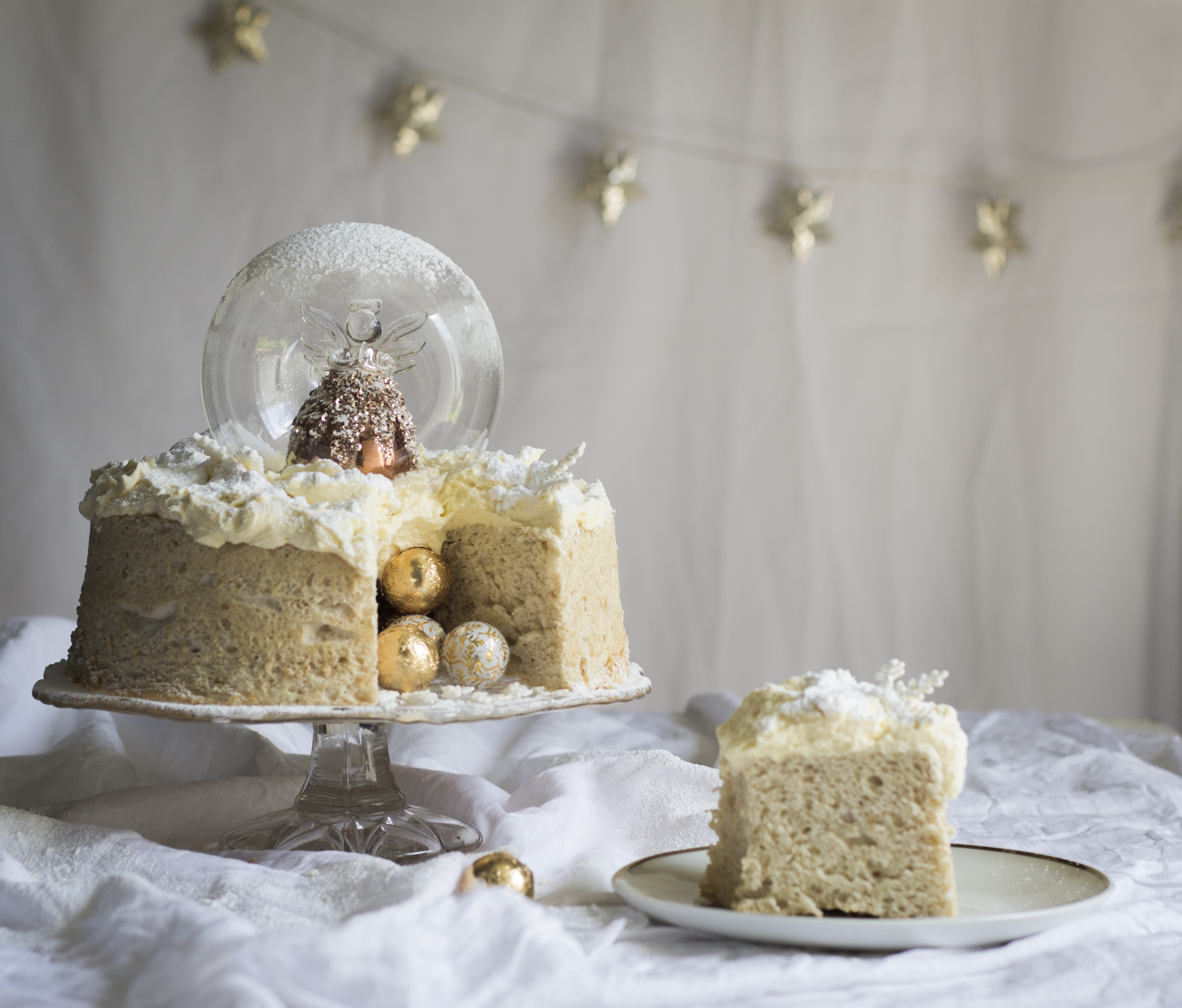 Angel Snow Globe Cake With Brandy Butter Frosting The Kate Tin