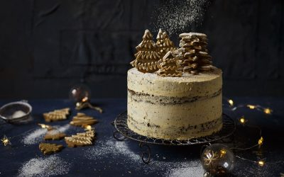 Christmas Gingerbread Cake with Brandy Butter Frosting