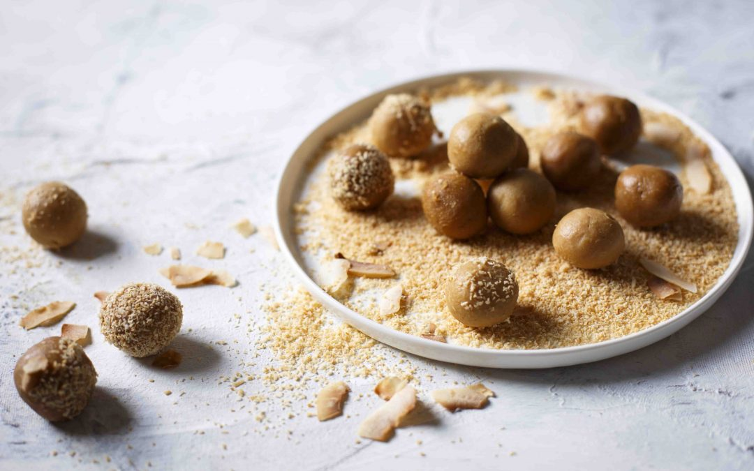 Roasted White Chocolate Truffles with Coconut