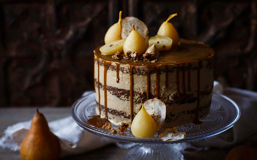 Spiced Pear and Sweet Potato Cake with Muscovado Frosting