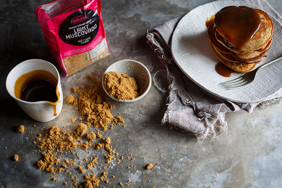Image of the ingredients for sticky toffee pudding pancakes with light muscovado sugar