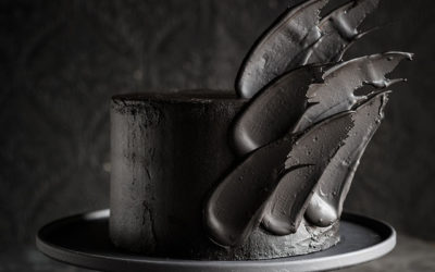 Black Brushstroke Cake for Halloween